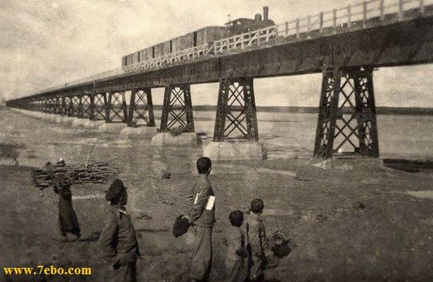 پل سیاه اهواز لکوموتیوبخار و واگن های چوبی